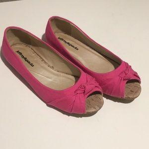 Pink canvas peep toe flats